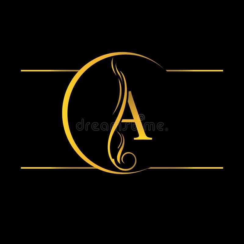 золотая буква A Логотип иллюстрация вектора