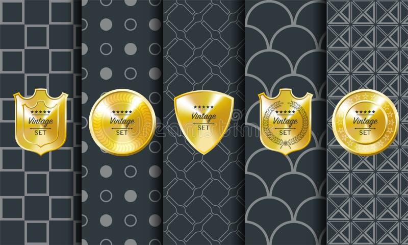 Золотая винтажная картина вектора на темной предпосылке иллюстрация штока