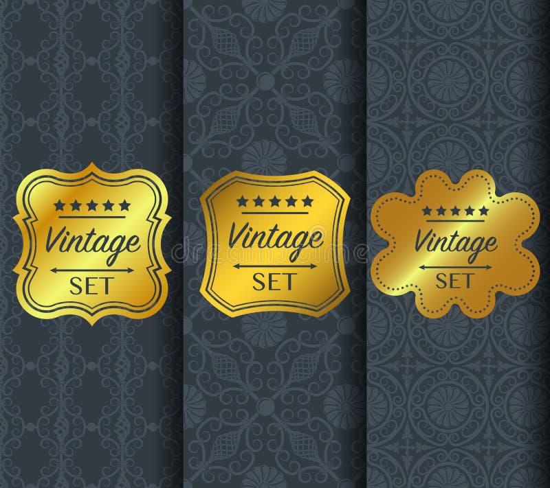 Золотая винтажная картина на темной предпосылке иллюстрация вектора