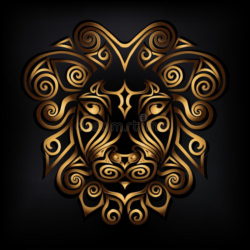 Золотая голова льва изолированная на черной предпосылке иллюстрация штока