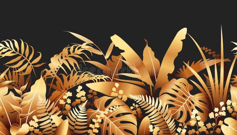Золотая граница тропических заводов безшовная иллюстрация штока