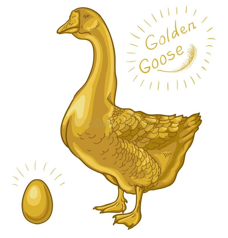 Золотая гусыня, гусыня на белой предпосылке, золотое яйцо иллюстрация вектора