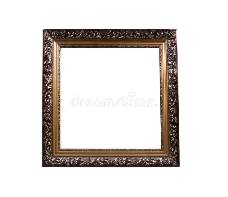 Золотая деревянная рамка для фото, картин, изолированных на белой предпосылке стоковые фото