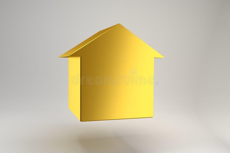 Золотая диаграмма дома вися в воздухе на серой предпосылке Дорогая недвижимость Минималистский дизайн для плаката, крышки, клеймя иллюстрация вектора