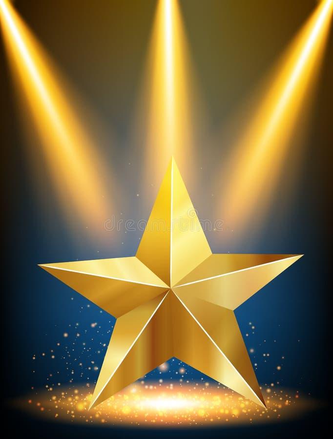 Золотая звезда с желтым светом в предпосылке бесплатная иллюстрация