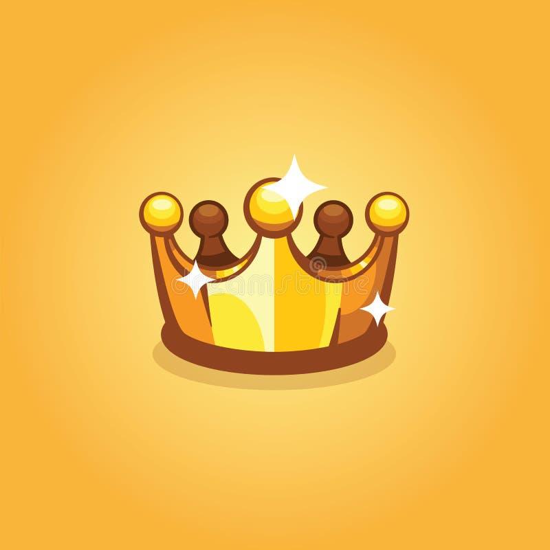 Золотая изолированная крона, значок короля вектора Королевская крона сверкная и сияющая, иллюстрация вектора иллюстрация вектора