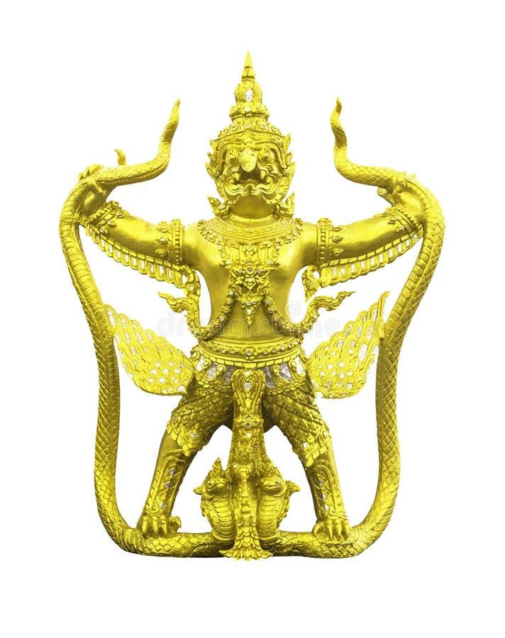 Золотая изолированная статуя garuda стоковые изображения rf
