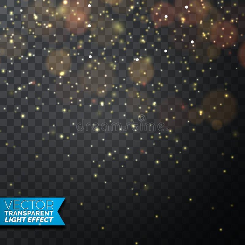 Золотая иллюстрация светов рождества на темной прозрачной предпосылке бесплатная иллюстрация
