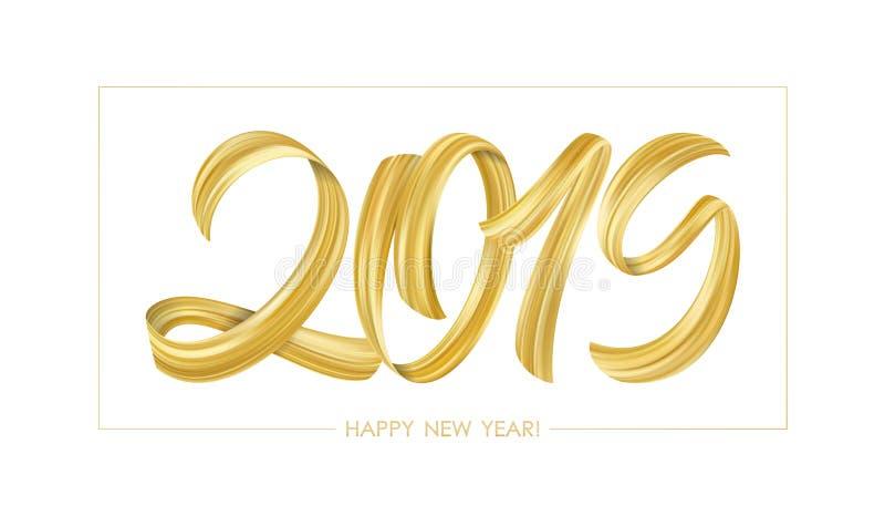 Золотая каллиграфия литерности краски Brushstroke 2019 счастливых Новых Годов на белой предпосылке Роскошный дизайн бесплатная иллюстрация