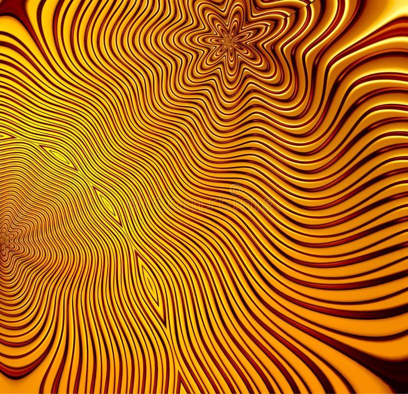 Золотая картина фрактали - перевод Illustation 3d - перевод Illustation 3d иллюстрация штока