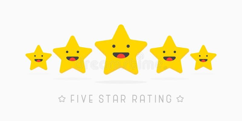 Золотая классифицируя сторона улыбки wiyh звезды 5 милая Иллюстрация вектора в белизне бесплатная иллюстрация