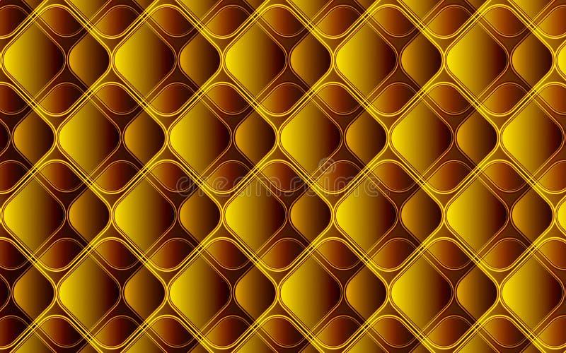 Золотая коричневая абстрактная предпосылка косоугольников и квадратов иллюстрация вектора
