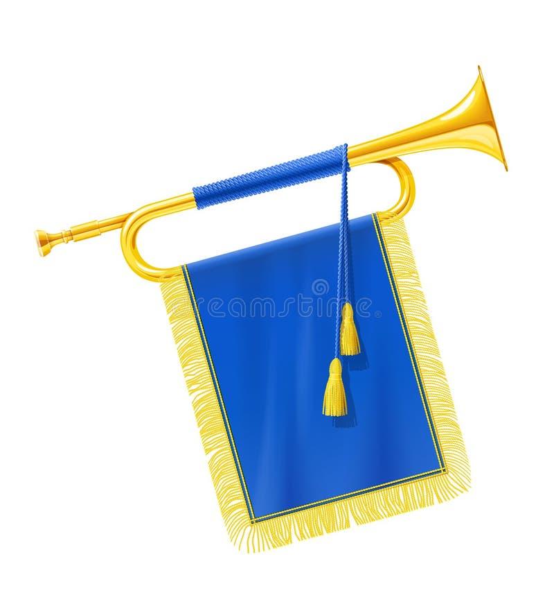 Золотая королевская труба рожка с голубым знаменем Музыкальный инструмент для оркестра короля иллюстрация штока