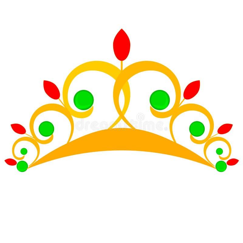 E Золотая крона изолированная с сеткой градиента, вектором иллюстрация вектора