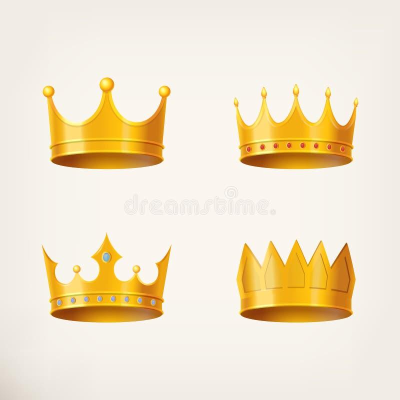 золотая крона 3D для ферзя или монарха, короля иллюстрация вектора