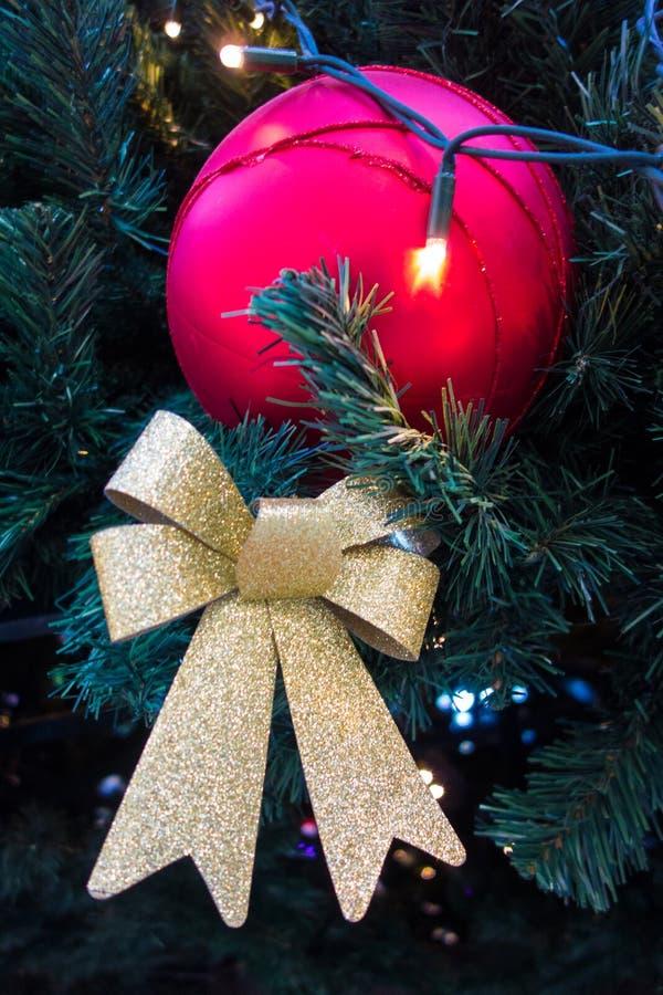 Золотая лента, и красный шарик на рождественской елке стоковые изображения
