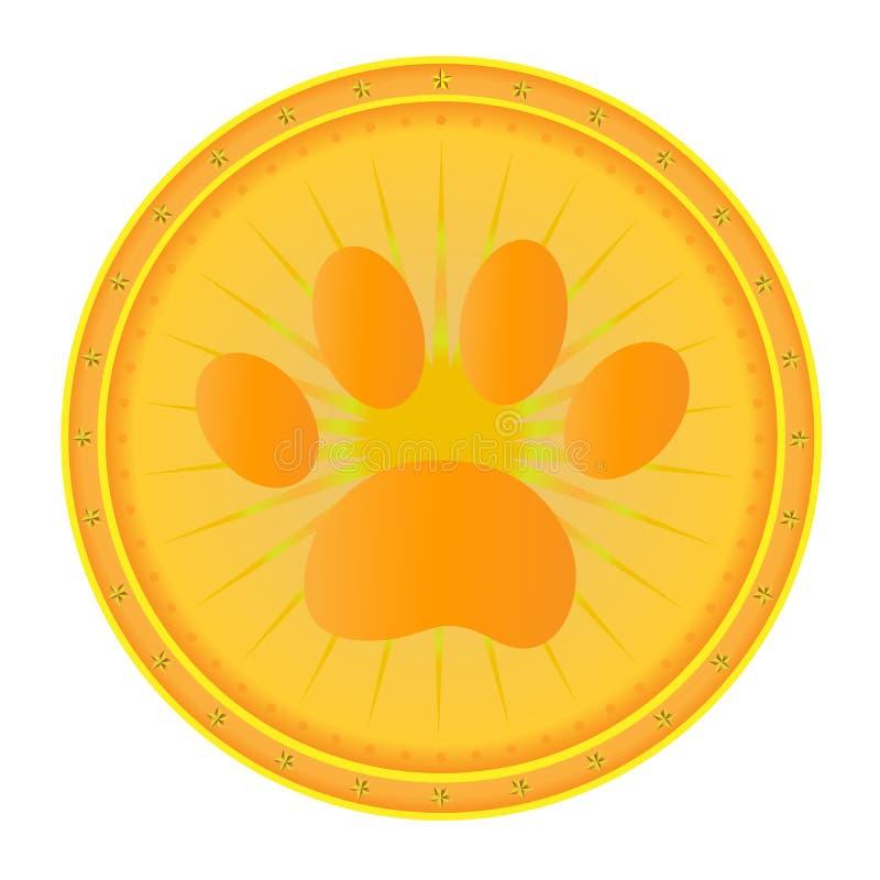 Золотая медаль собаки печати лапки иллюстрация штока