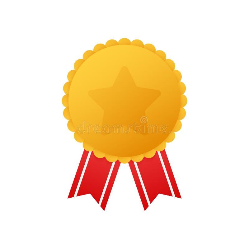 Золотая медаль со звездой и красной лентой Значок награды победителя Самый лучший отборный значок также вектор иллюстрации притяж иллюстрация вектора