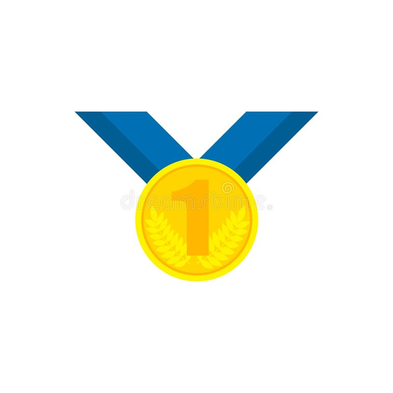Золотая медаль с голубой лентой и одним бесплатная иллюстрация