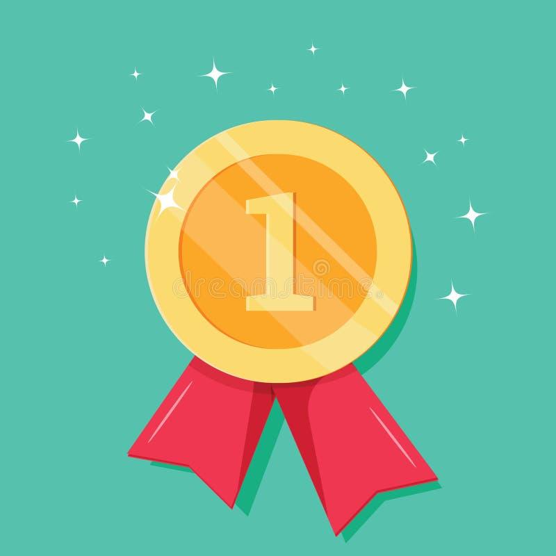 Золотая медаль с красной лентой для первого места Трофей, награда победителя бесплатная иллюстрация
