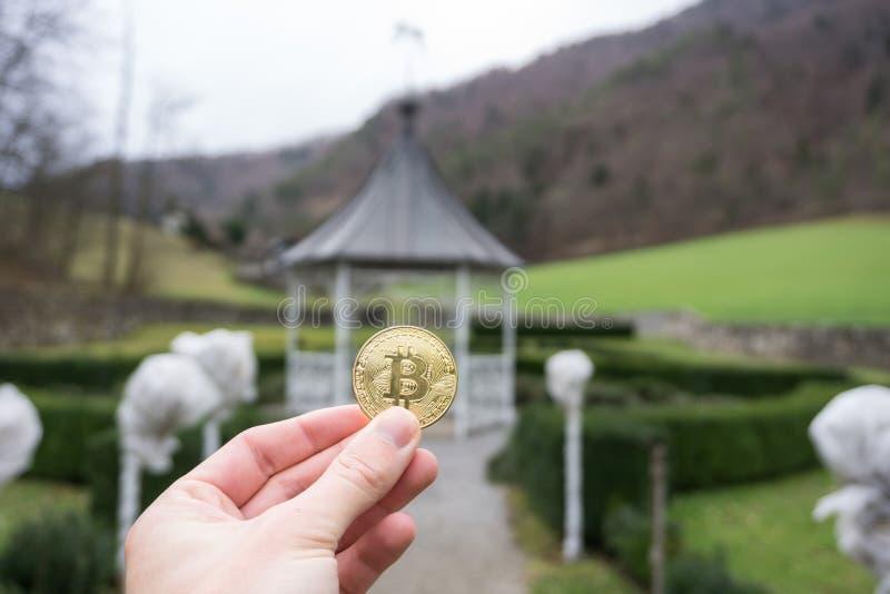 Золотая монета Bitcoin, владение руки bitcoin в парке и естественная предпосылка стоковые фотографии rf