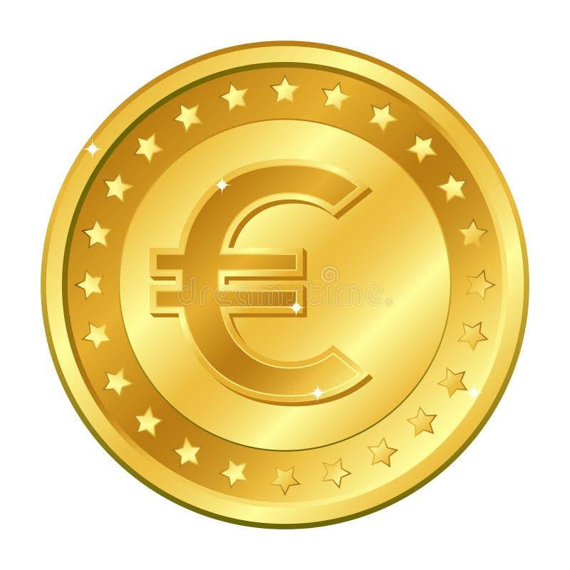 Золотая монетка валюты евро с звездами Иллюстрация вектора изолированная на белой предпосылке Editable элементы и слепимость Игра иллюстрация штока