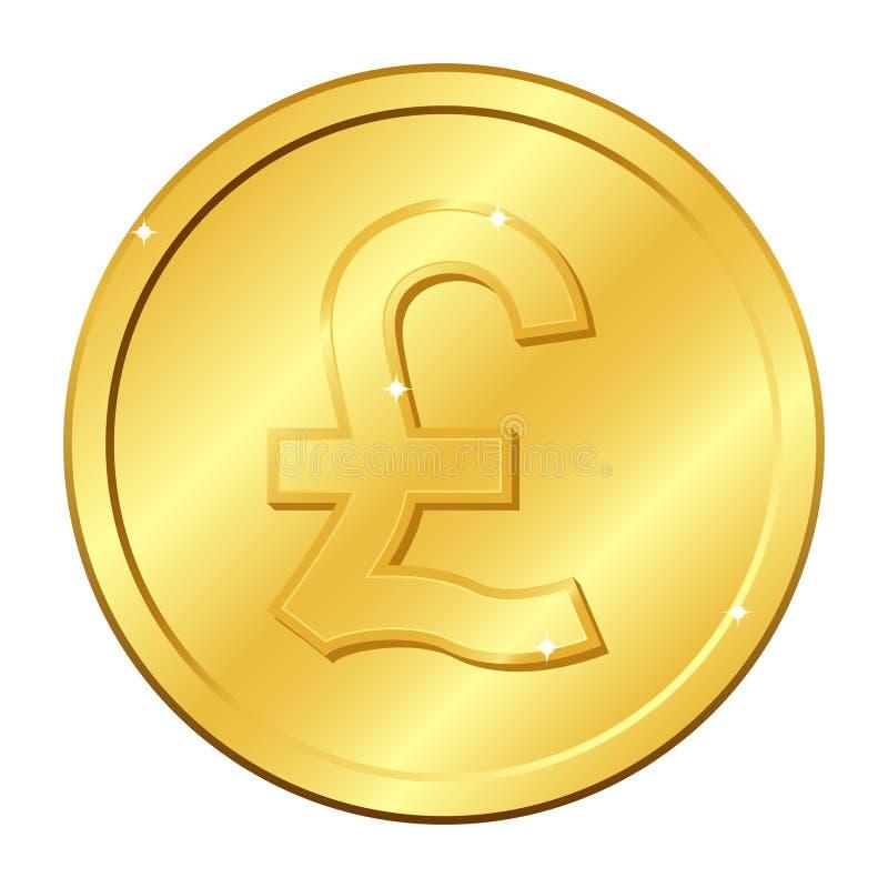 Золотая монетка валюты фунта стерлинга Монетка Британии Иллюстрация вектора изолированная на белой предпосылке Editable элементы иллюстрация вектора