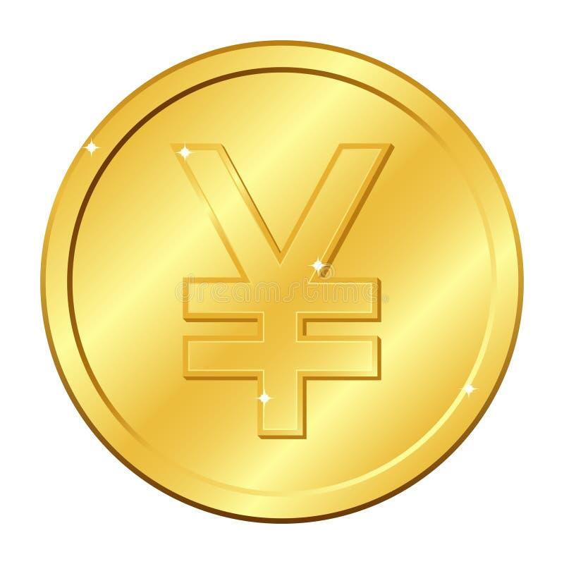 Золотая монетка валюты юаней и иен Иллюстрация вектора изолированная на белой предпосылке Editable элементы и слепимость Китай яп иллюстрация штока