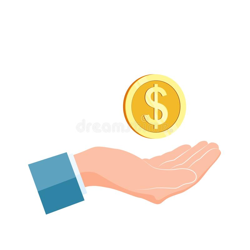 Золотая монетка владением руки бизнесмена Концепция призрения и пожертвования Иллюстрация вектора изолированная на белой предпосы иллюстрация штока