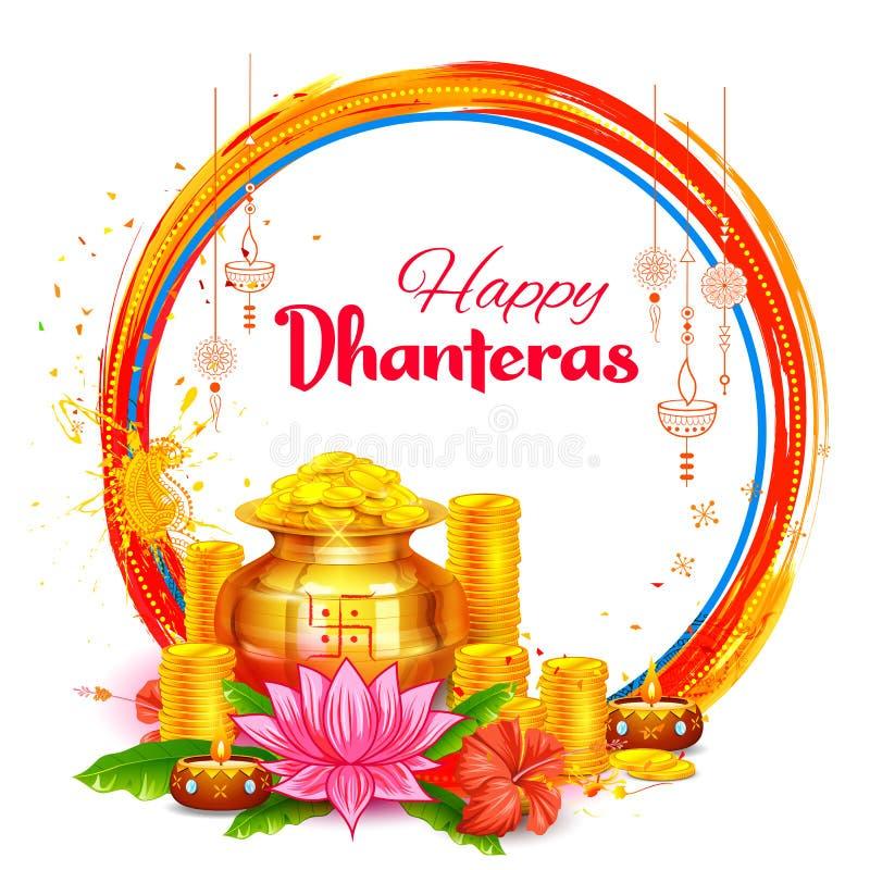 Золотая монетка в баке для торжества Dhanteras на счастливом фестивале света Dussehra предпосылки Индии иллюстрация вектора