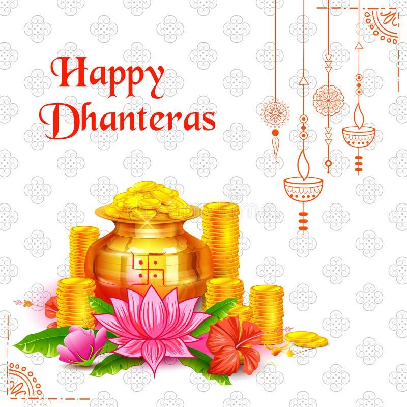 Золотая монетка в баке для торжества Dhanteras на счастливом фестивале света Dussehra предпосылки Индии бесплатная иллюстрация