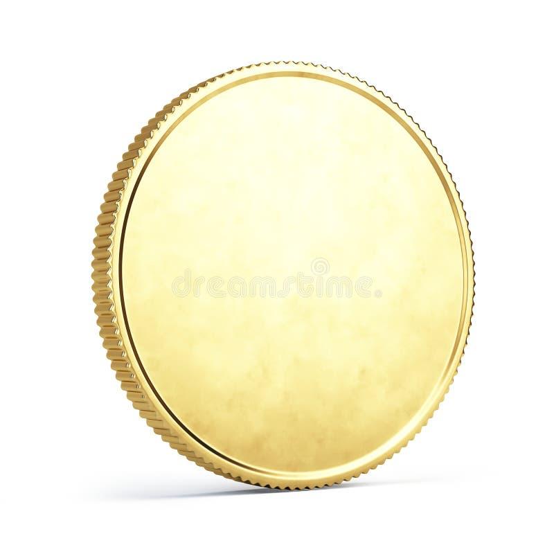 Золотая монетка изолированная на белизне стоковые фотографии rf