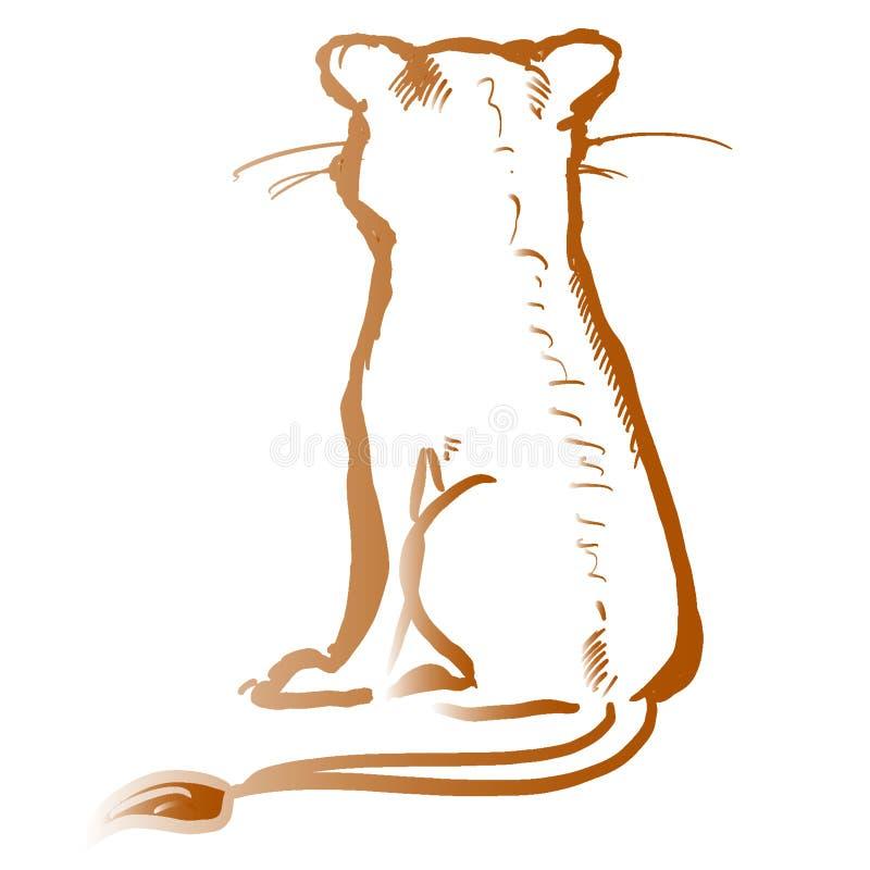 Золотая небольшая сидя иллюстрация контура льва Милый животный силуэт Контур градиента захода солнца славный Прекрасный мультфиль бесплатная иллюстрация