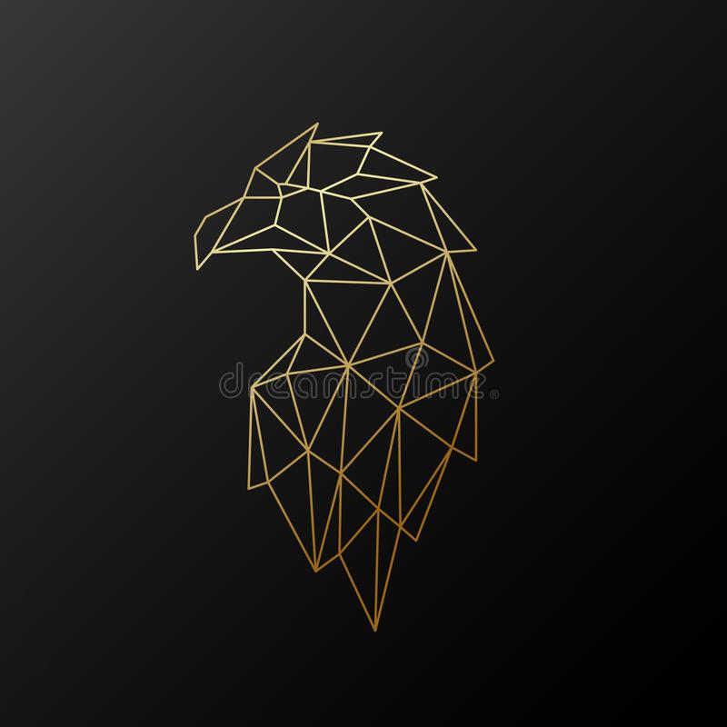 Золотая полигональная иллюстрация орла изолированная на черной предпосылке иллюстрация штока