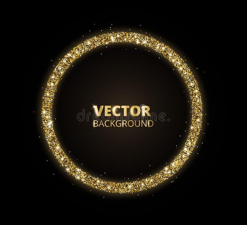 Золотая предпосылка искры, рамка круга яркого блеска Чернота и пыль вектора золота иллюстрация штока