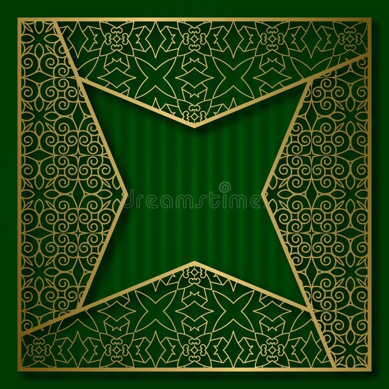 Золотая предпосылка крышки с традиционной сделанной по образцу рамкой в 4 указала форма звезды иллюстрация вектора