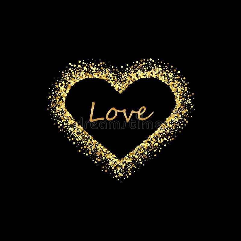 Золотая рамка сердца с пустым космосом для вашего текста Рамка дня валентинок золота сделанная неровных пятен или точек различног иллюстрация вектора