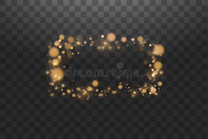 Золотая рамка с световыми эффектами, сияющая роскошная иллюстрация вектора знамени Линия золотая рамка зарева с искрами и иллюстрация вектора