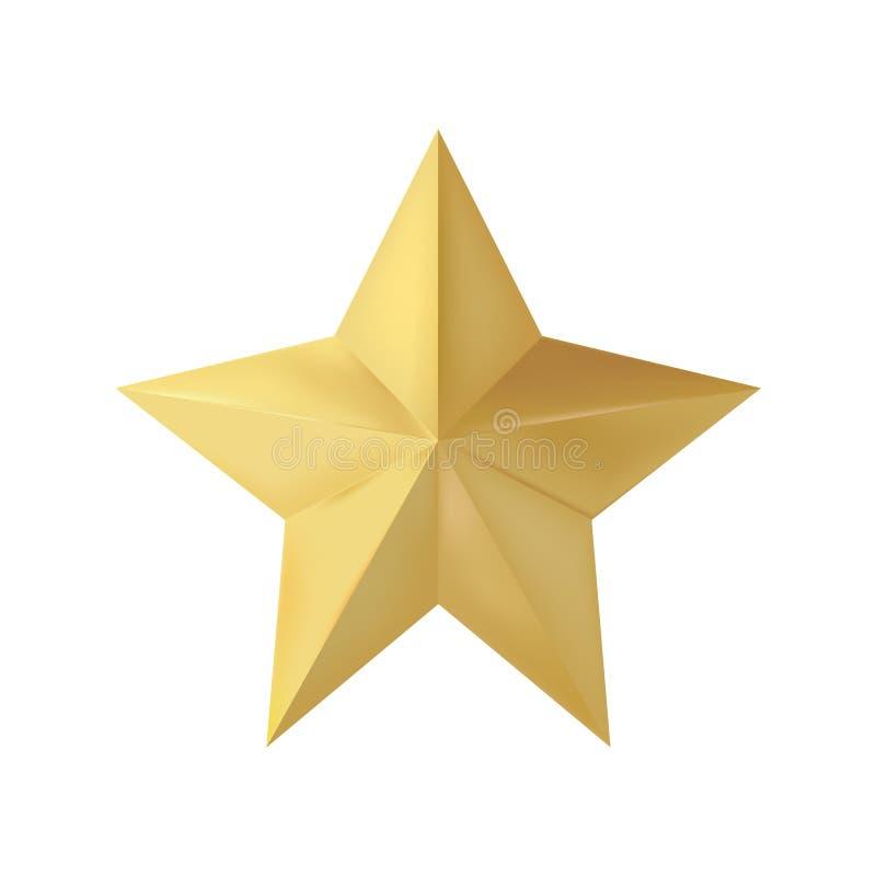 Золотая реалистическая звезда рождества 3D изолированная на белой предпосылке также вектор иллюстрации притяжки corel иллюстрация штока