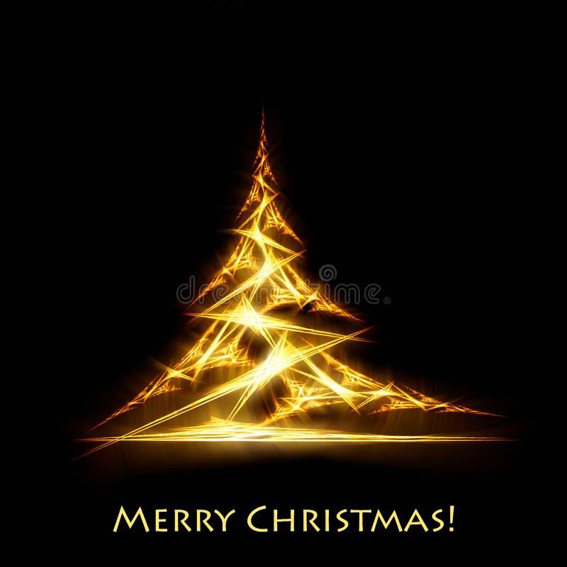 Золотая рождественская елка на черноте иллюстрация штока