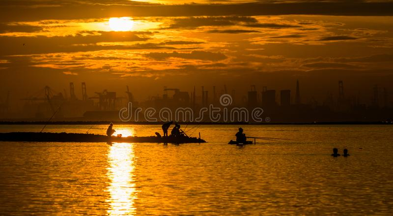 Золотая рыбная ловля на гавани Ancol стоковые фотографии rf