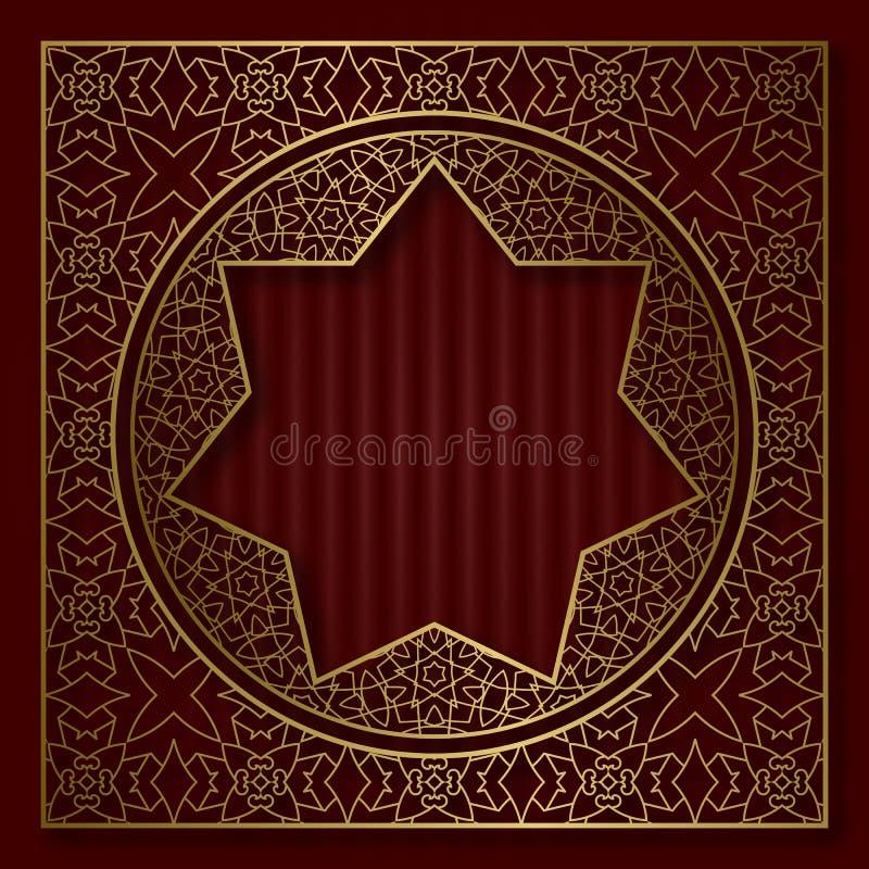 Золотая сделанная по образцу обрядовая рамка в восточном стиле Винтажная предпосылка крышки или комплексное конструирование иллюстрация штока