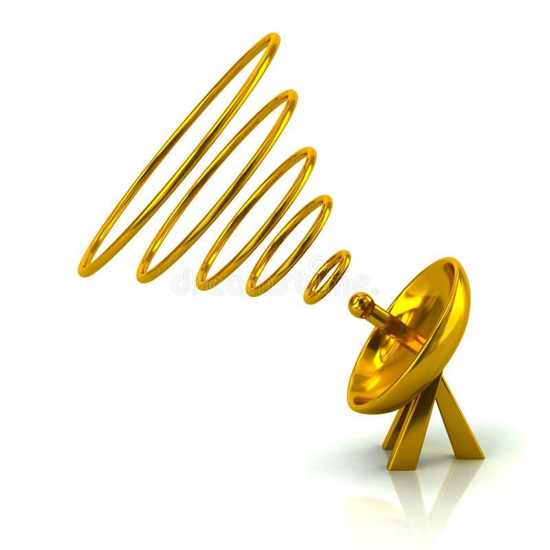 Золотая спутниковая иллюстрация параболической антенны 3d бесплатная иллюстрация