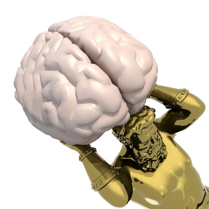 Золотая статуя Атланта с большим мозговым органом вместо земли бесплатная иллюстрация