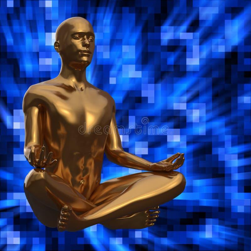 Золотая статуя человека в представлении лотоса стилизованном на голубой предпосылке бесплатная иллюстрация