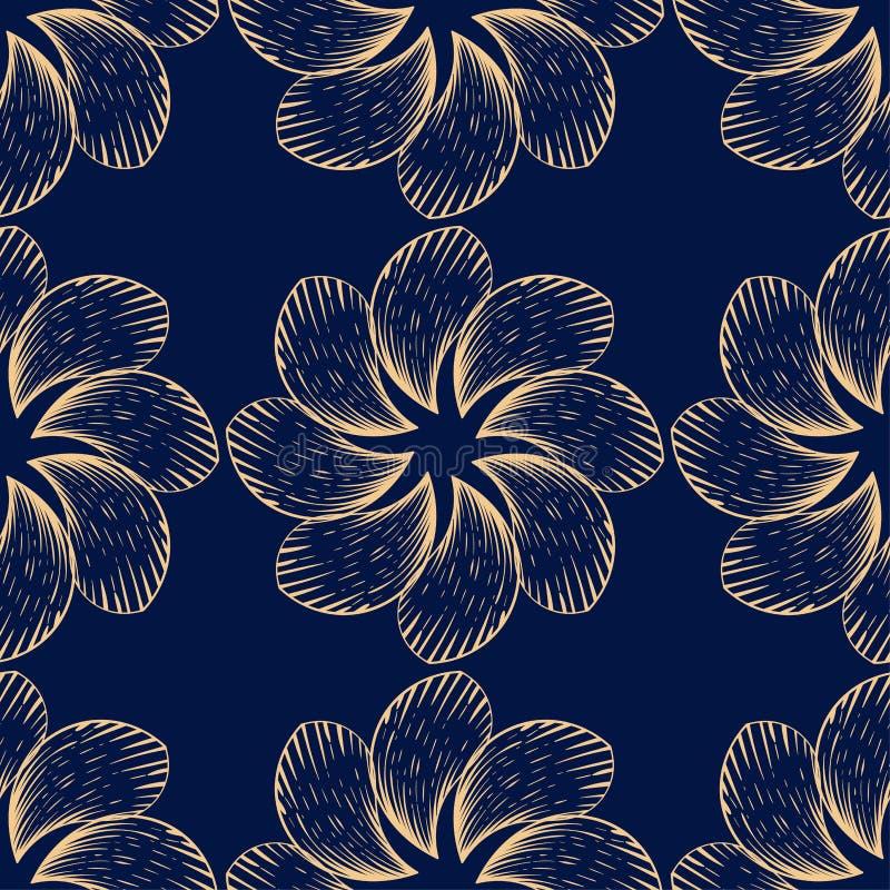 Золотая флористическая безшовная картина на голубой предпосылке иллюстрация вектора