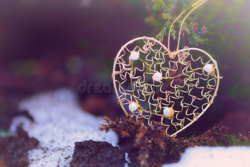 Золотая форма сердца на дереве gree стоковая фотография
