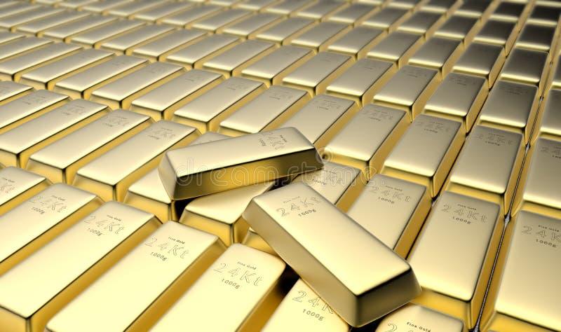 24 золота в слитках карата в своде иллюстрация вектора