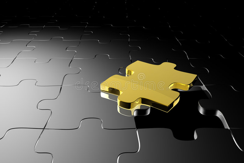 золотистая головоломка части иллюстрация вектора