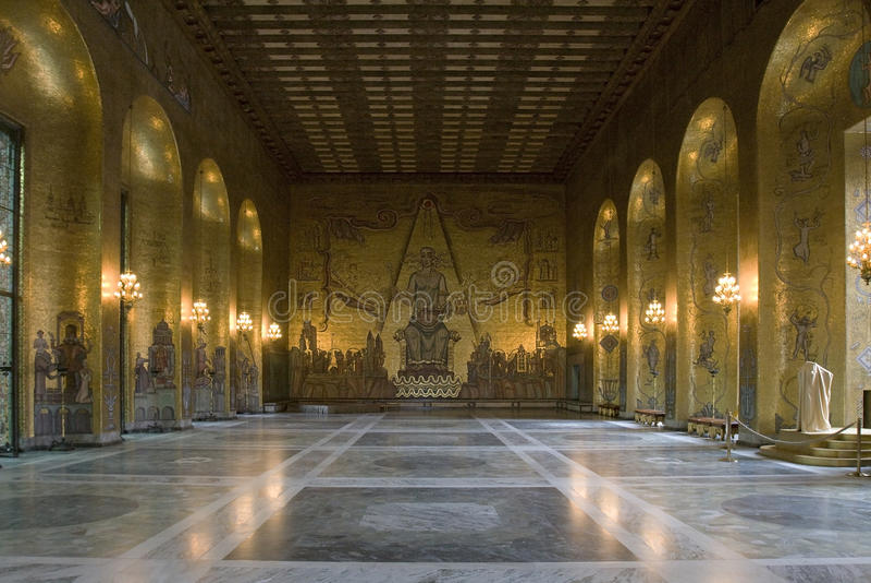золотистая зала stockholm стоковое изображение